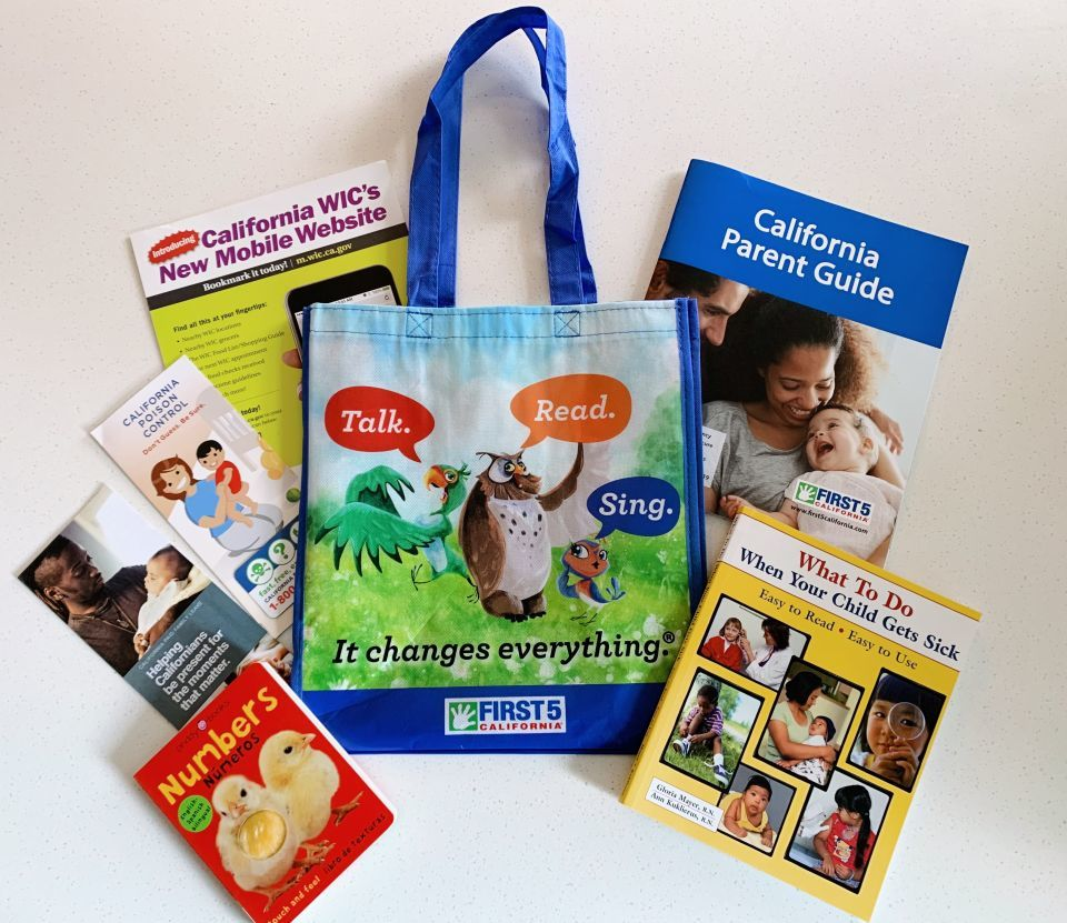 First 5 Kit for New Parents - books, pamphlets, tote bag
